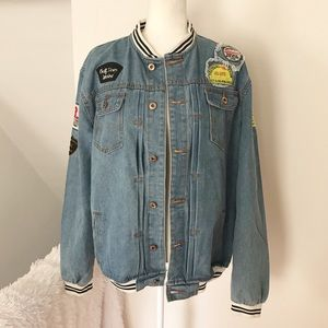 Jackets & Blazers - Oversized Jean Jacket with Embroidered Patches